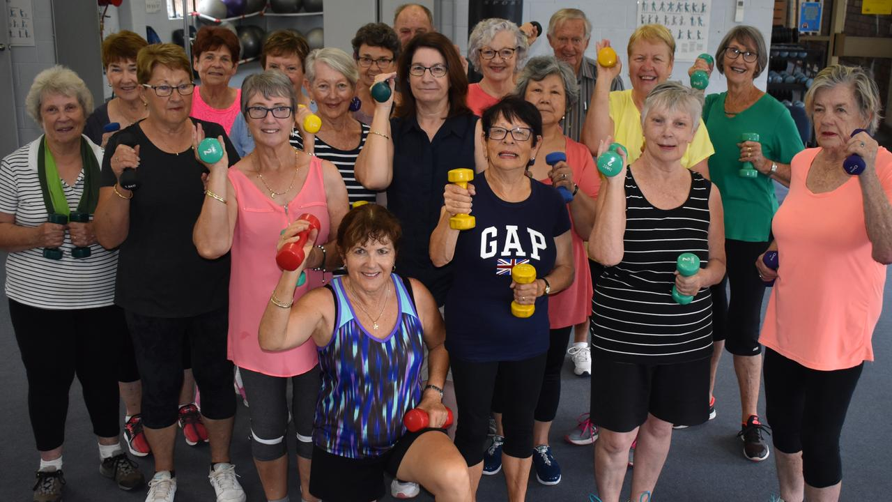 FIT FUN: Rageing Ageing class members with instructor Lynette Torrisi.