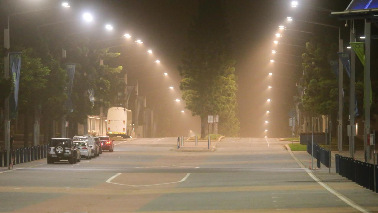 Dust was thick in the air at Sydney Olympic Park overnight. Picture: Damian Hofman