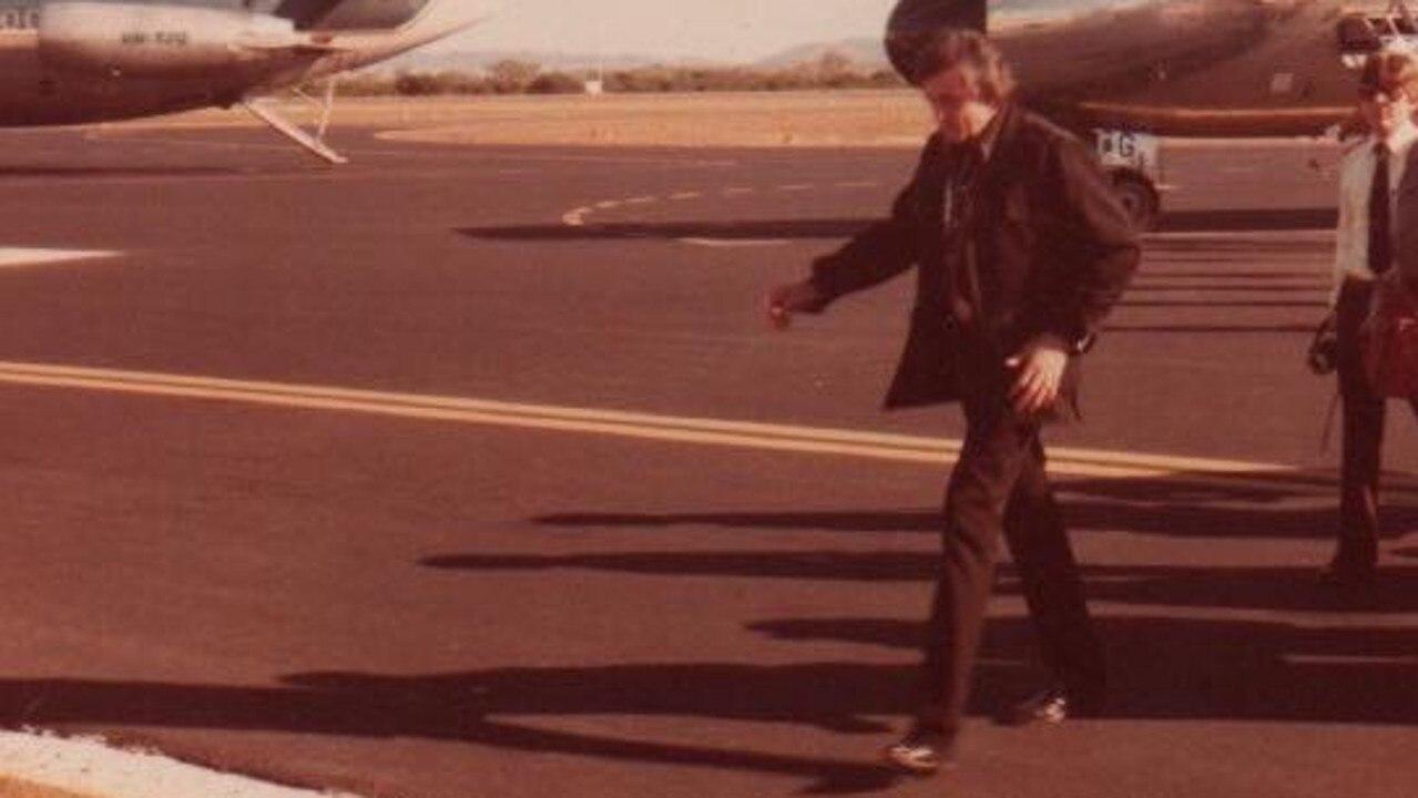 Johnny Cash walks off the tarmac at Rockhampton Airport.