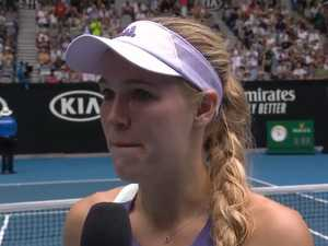 Retiring Open champion Wozniacki breaks down after loss