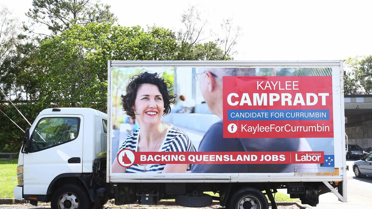 Huge banner for Labor candidate Kaylee Campradt in Currumbin.