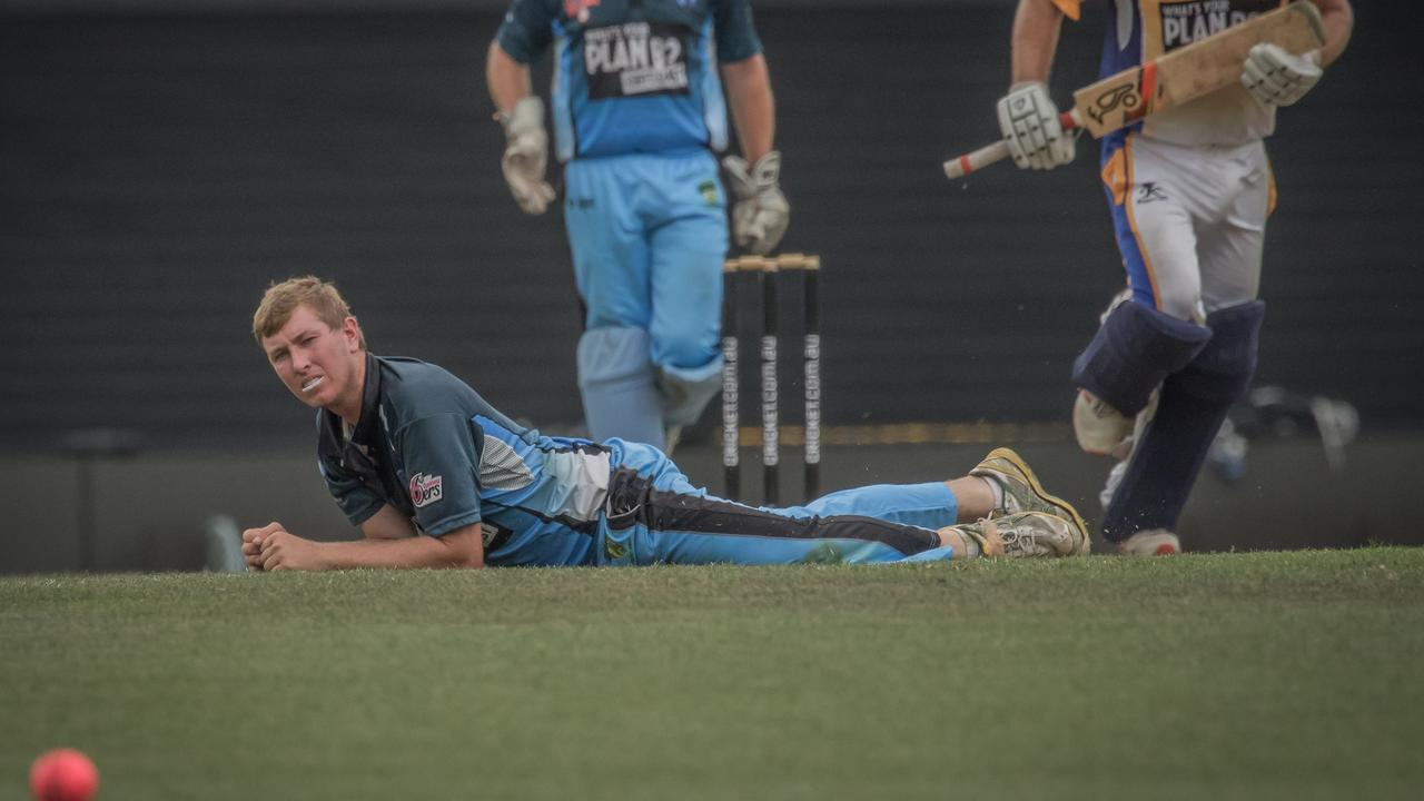 Ben McMahon looks on in despair after missing a caught and bowled opportunity during the 2019 Plan B Regional Bash semi-final between Coffs Coast Chargers and Central Coast Rush at the Sydney Cricket Ground.