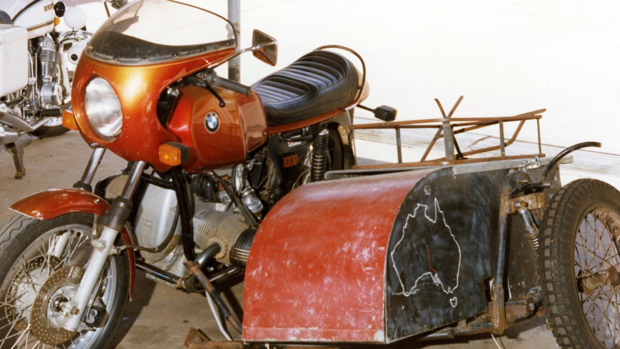 Tim Thomson's 1977 BMW R100S motorcycle with homemade sidecar. The bike had SA plates and was recovered two weeks after their bodies were discovered.