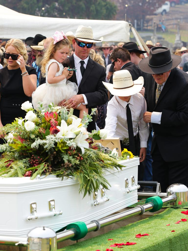 Extended family paying their respects at the Salway family funeral. Picture: Gaye Gerard