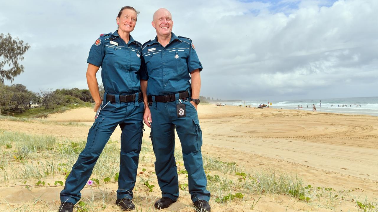 ON SCREEN: Paramedics Jan Burdekin and Andrew Roberts on Dicky Beach will feature on a television series. Photo: John McCutcheon / Sunshine Coast Daily