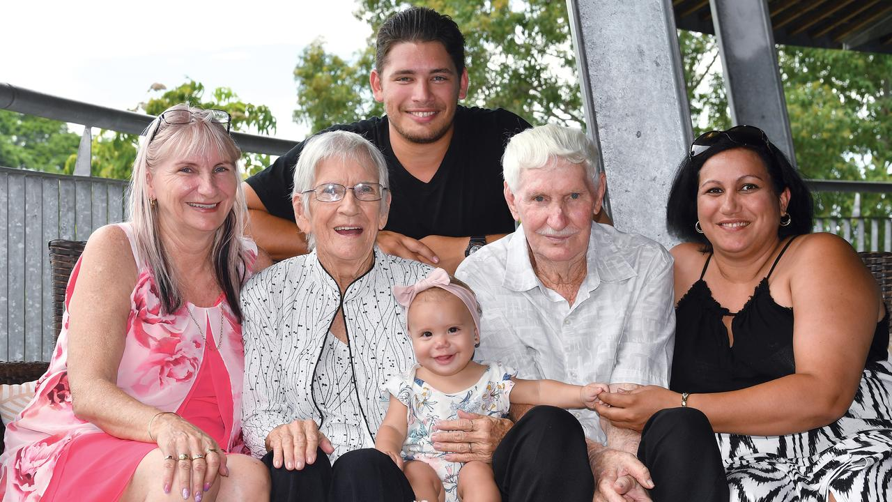 FIVE GENERATIONS: Clare and Alan Jenkins, with great great granddaughter Nihvanah Mann and (from left) their daughter Frances Mann, great grandson Isaac Mann and granddaughter Carla Mann. Picture: Tony Martin.