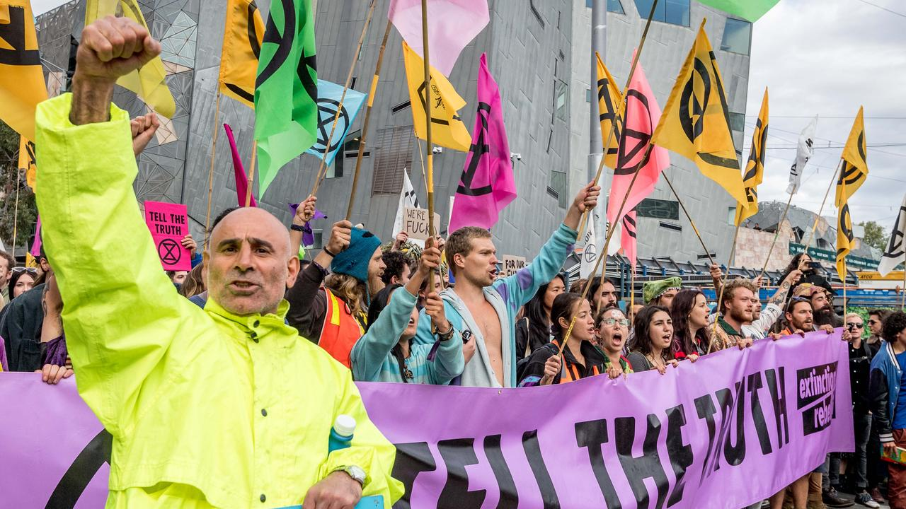 Extinction Rebellion activists protested in Melbourne's CBD in October. Picture: Jake Nowakowski