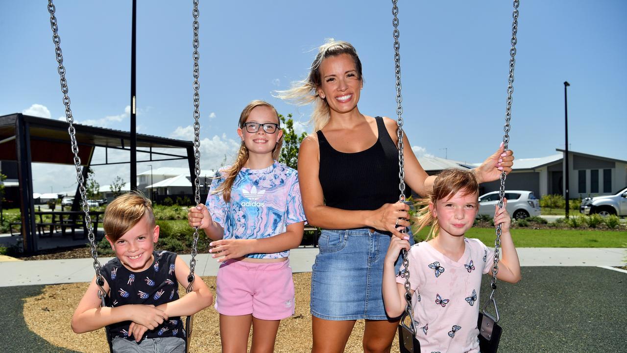 Mum Amber Huston with her children Ryder, 6, Indi, 11 and Imogen, 9, are loving life in Aura. Photo: John McCutcheon / Sunshine Coast Daily