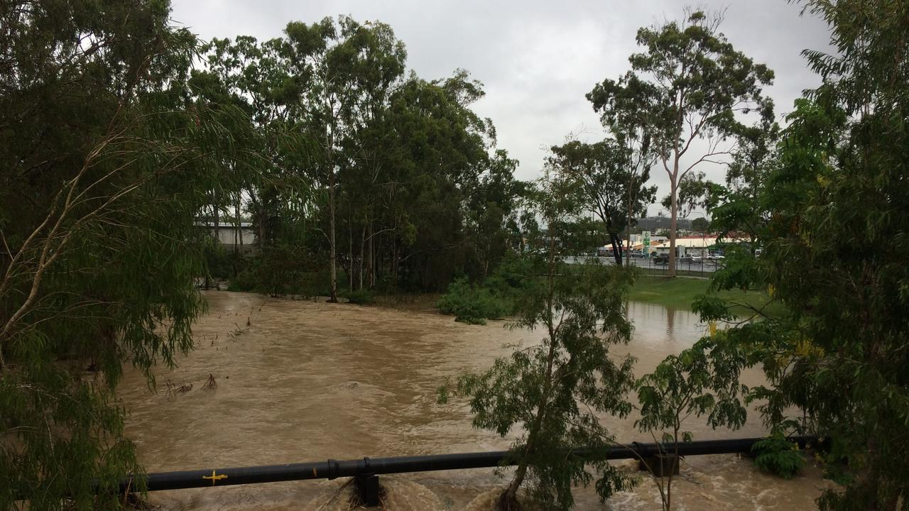 Briffney Creek near Bunnings is flowing heavily after big rains January 24, 2020. Picture: Sam Reynolds