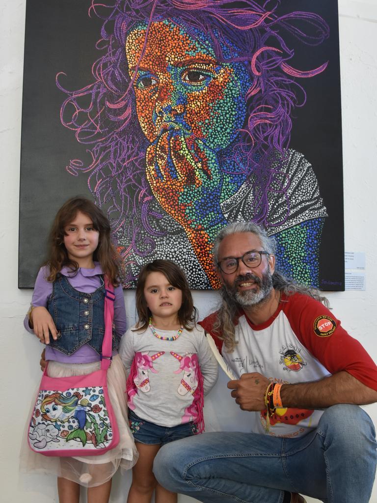 Artist Jandamarra Cadd with daughters Mindari and Nunyara at Cooroy's Butter Factory Arts Centre's NAIDOC Week celebrations.
