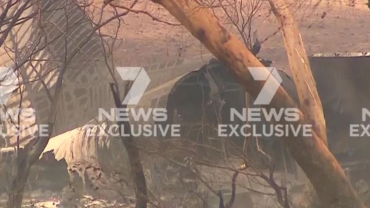 The large air tanker exploded. Picture: 7 News