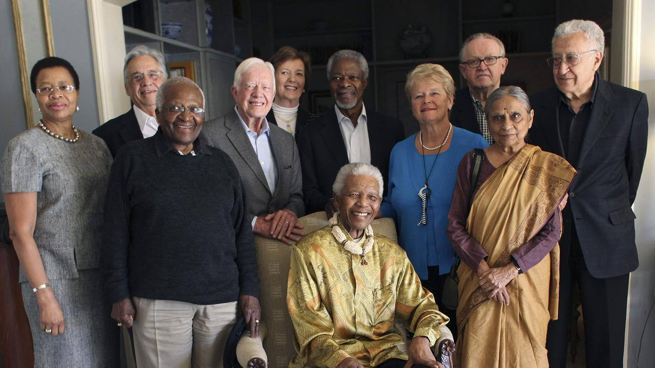 The Elders: Former Brazilian president Fernando Henrique Cardoso, former US president Jimmy Carter, former Irish president Mary Robinson, former secretary-general of the UN Kofi Annan, former prime minister of Norway Gro Brundtland, former president of Finland Martti Ahtisaari and UN ambassador Lakhdar Brahimi. Mandela's wife, Graca Machel, South African cleric Desmond Tutu, former South Africa p