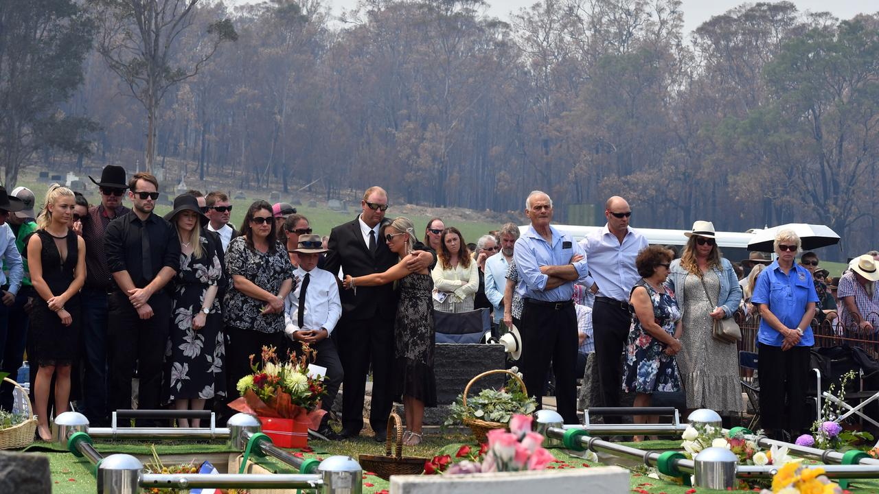 Renee Salway (centre) during the funeral of her husband Patrick and father-in-law Robert Salway, who died trying to protect their property in the farming hamlet of Wandella outside Cobargo. Picture: Getty