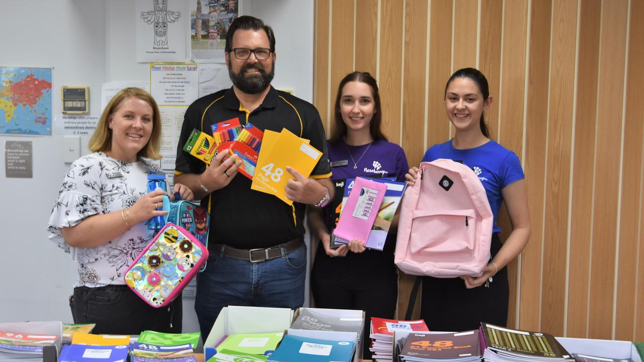 Erin Robertson, Shane McLeod, Billie Hamilton and Ebony Watson at Roseberry Qld's Back to School Supply Drive January 24, 2020.