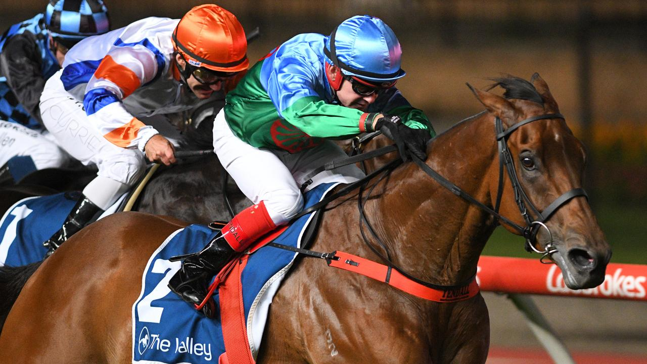 Dean Yendall rides Scales Of Justice to victory in the Australia Stakes. Picture: AAP