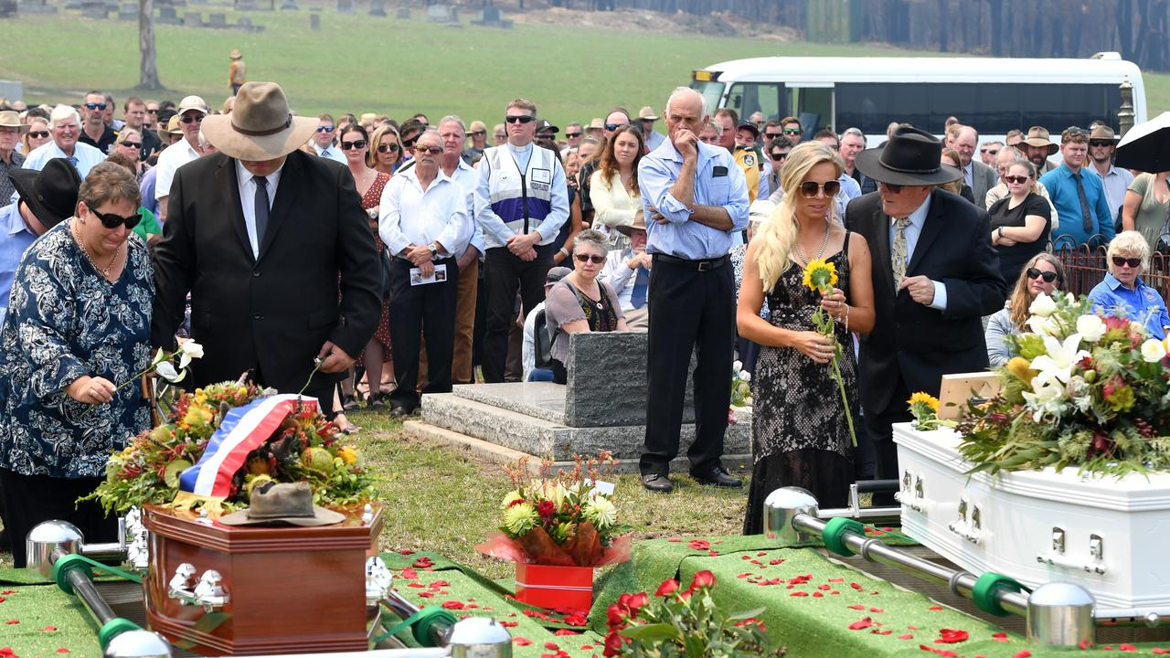 Janelle Salway (left) and Renee Salway (right) during the funeral of Patrick and Robert Salway on January 24, 2020 in Cobargo, Australia. Picture: Getty