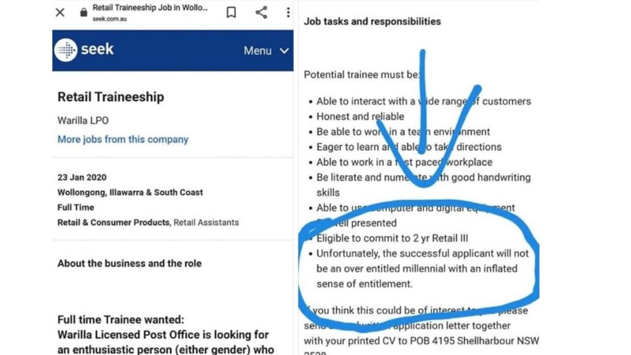 A job ad barring