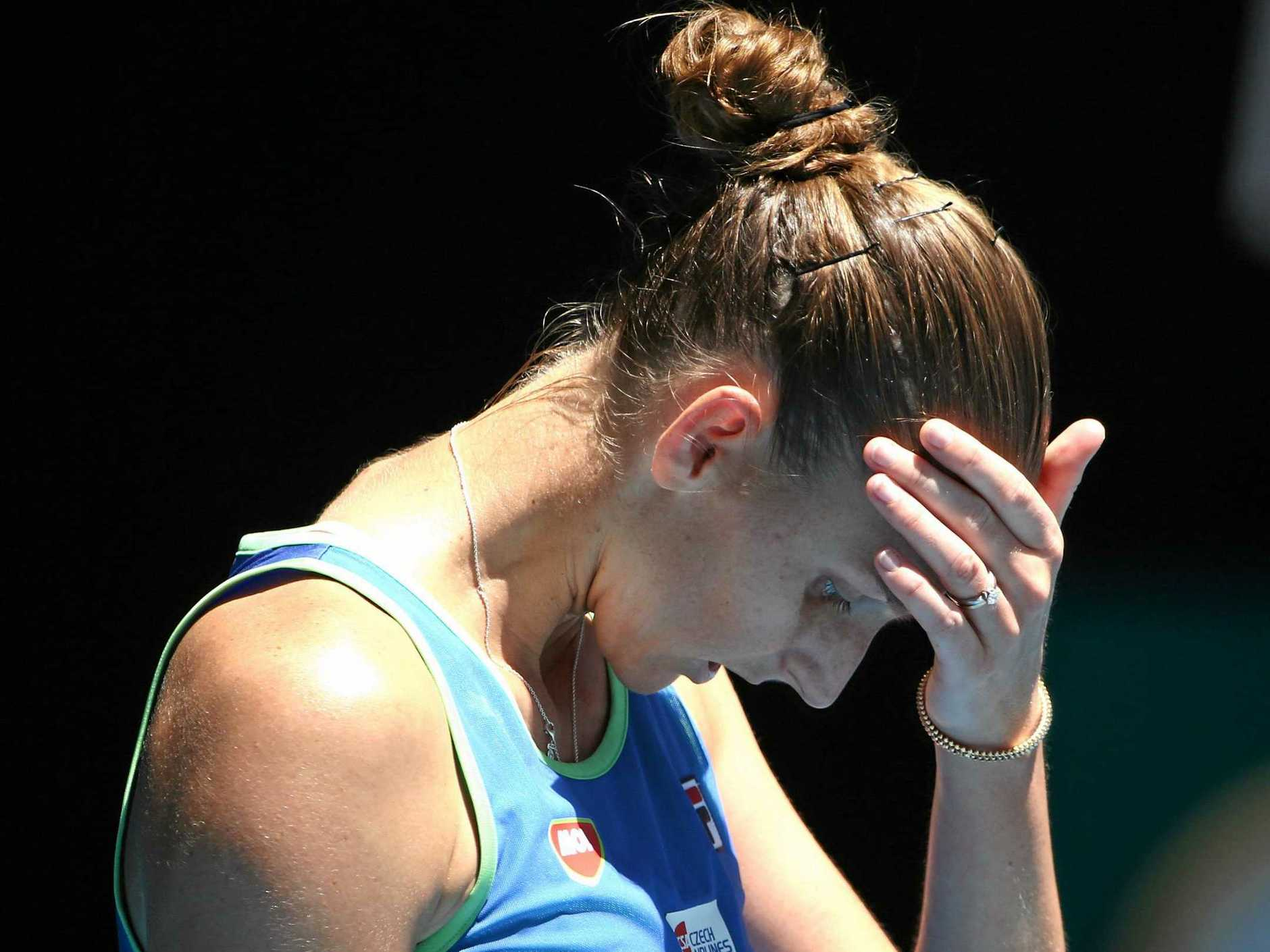 The Czech Republic's Karolina Pliskova reacts during her third-round match against Anastasia Pavlyuchenkova at the Australian Open on Saturday. Picture: Rob Prezioso/AAP