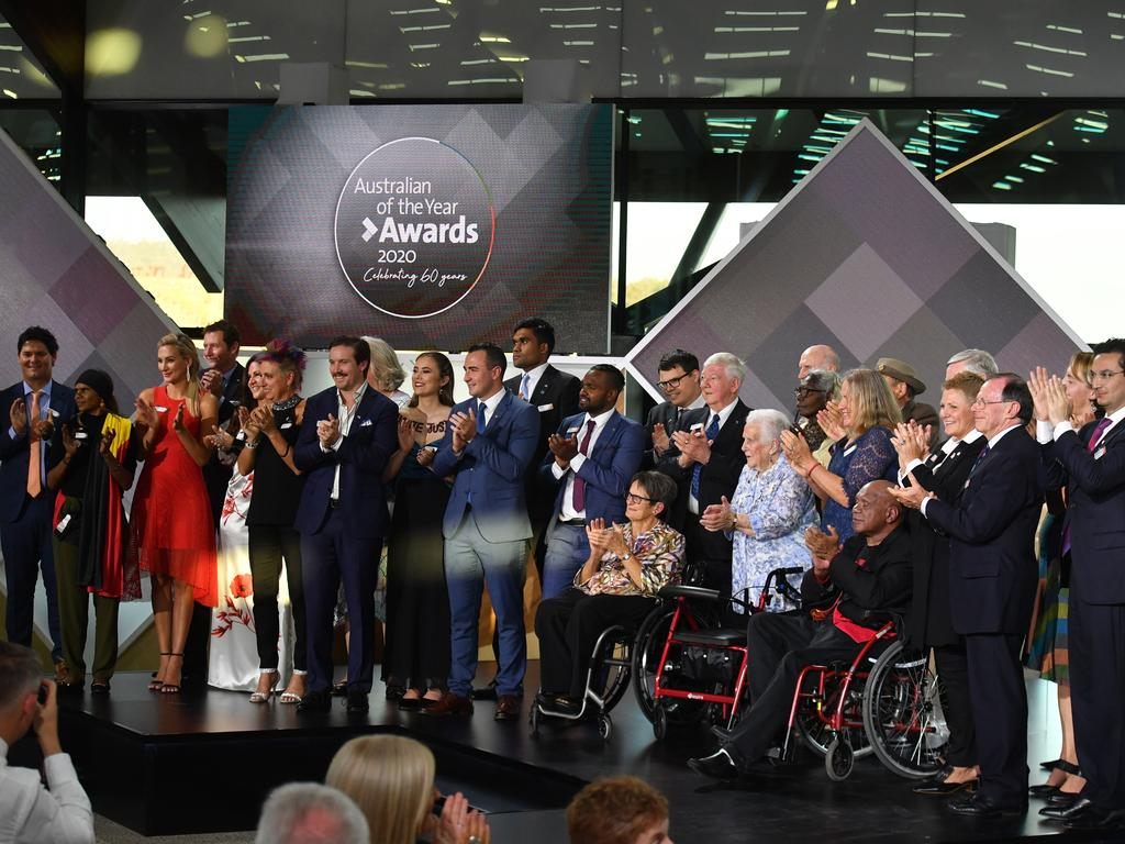 All the finalists on stage during the 2020 Australian of the Year Awards. Picture: AAP/Mick Tsikas