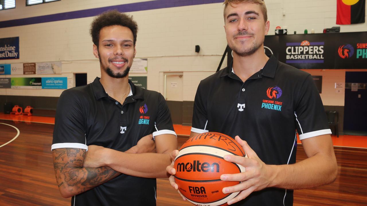 Sunshine Coast Phoenix's new recruits Jamaal Robateau and Nelson Kahler. Photo: Tom Threadingham