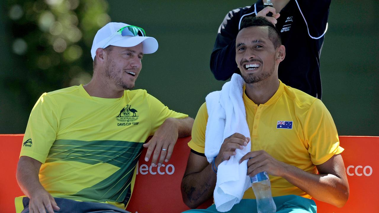 Lleyton Hewitt has been perfect for Kyrgios. Picture: AAP/Joe Castro