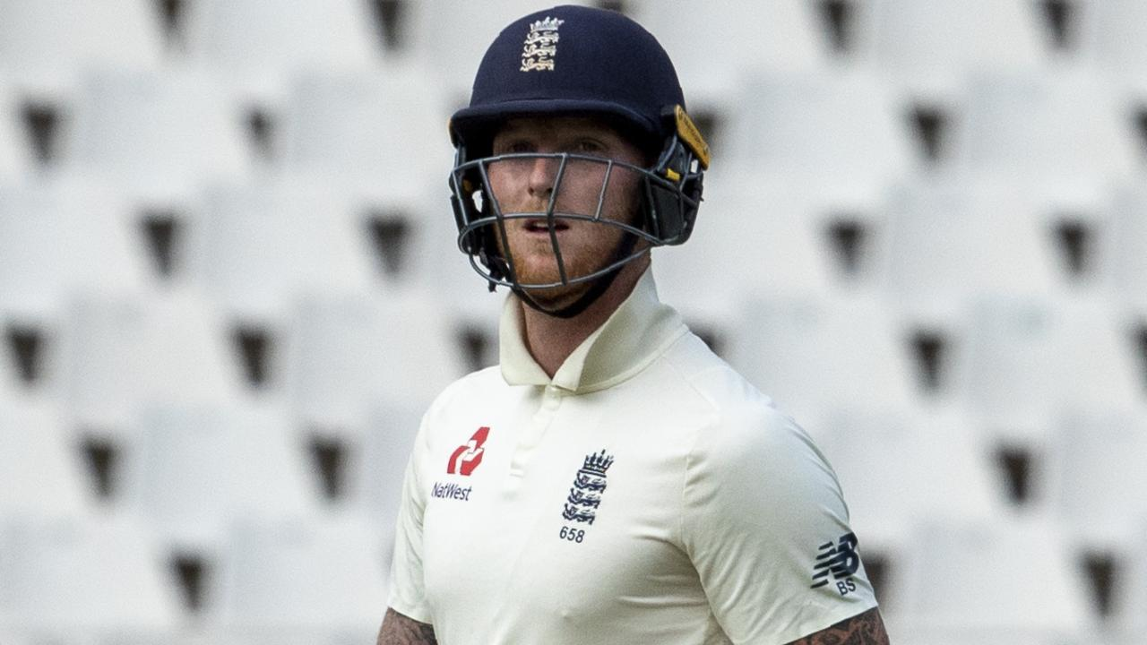 England's batsman Ben Stokes leaves the field after being dismissed at The Wanderers.