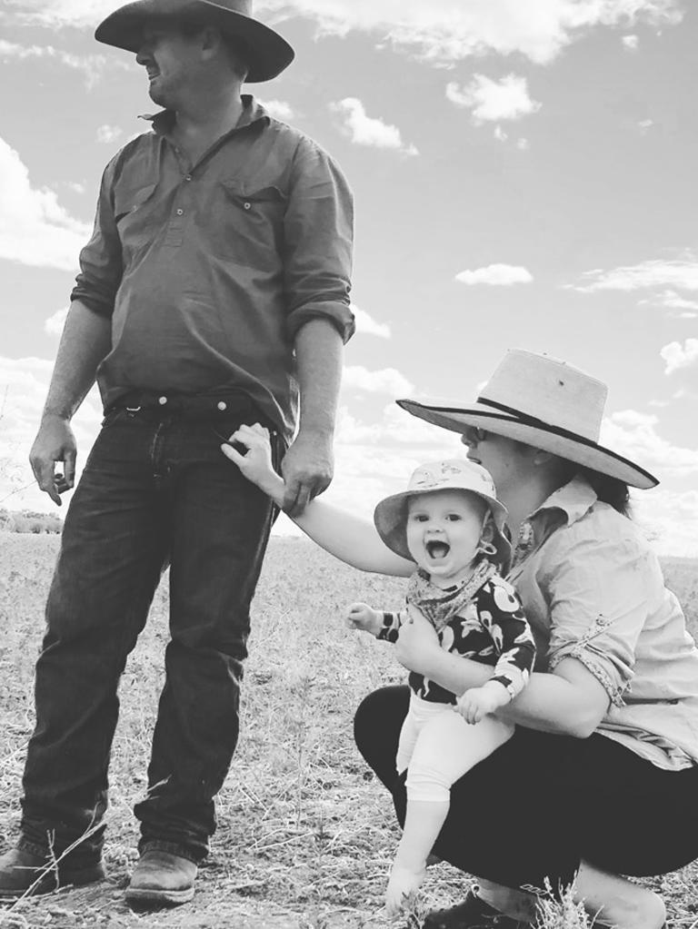 The Lord family of Nelia, Julia Creek: Bob and Claire with 15-month-old daughter Florence.
