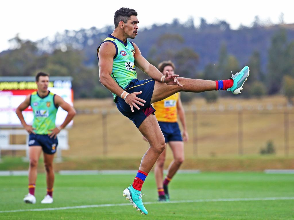 Charlie Cameron kicks for goal during a practice game. Picture: Zak Simmonds