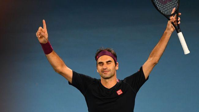Roger Federer celebrates after his victory.