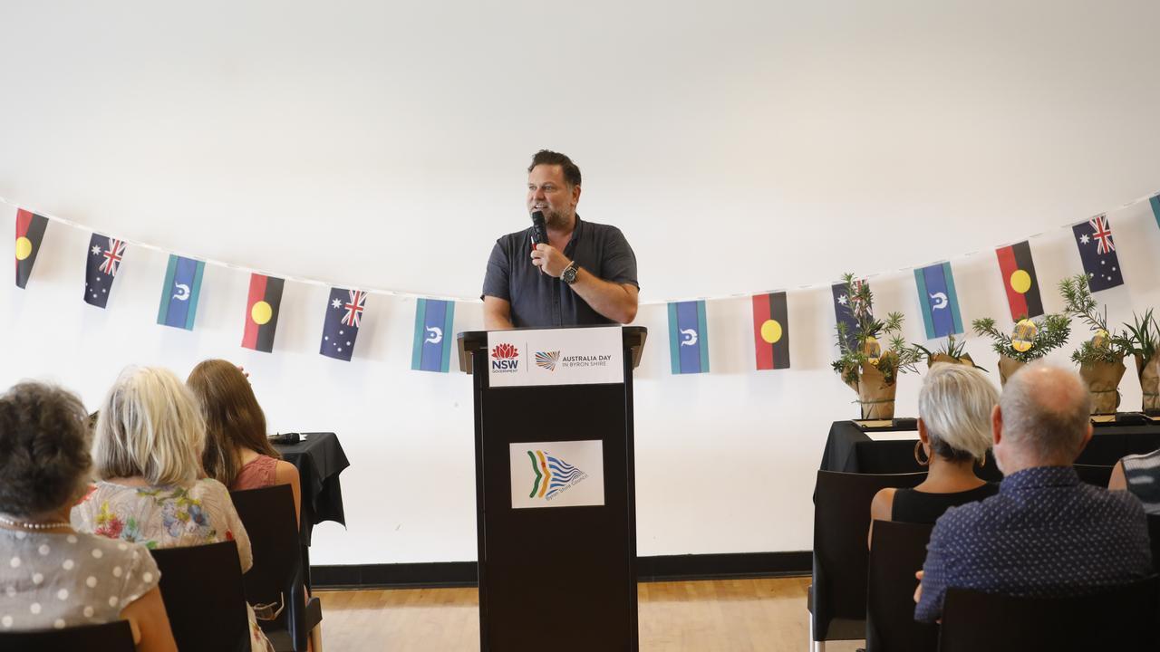 Byron mayor Simon Richardson speaks at the council's Australia Day Awards ceremony, held on Saturday, January 25 at the Cavanbah Centre.