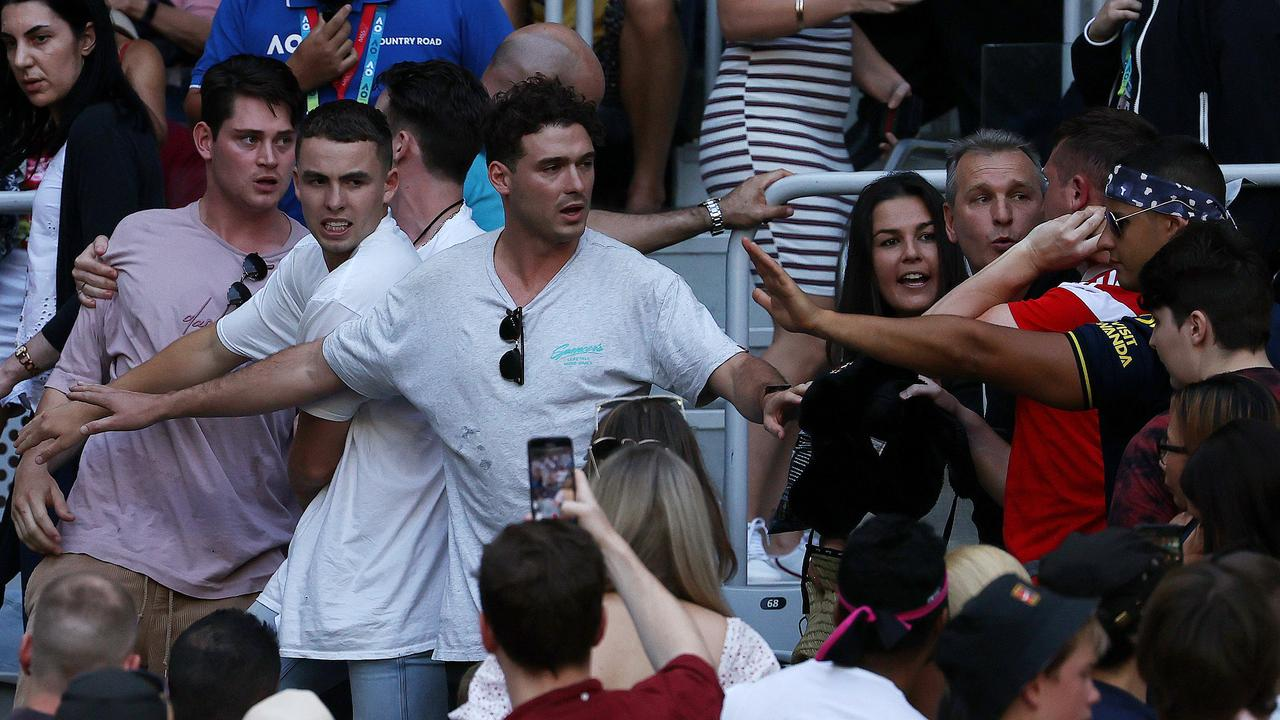 Violence erupted at the Australian Open before Nick Kyrgios took to the court. Picture: Michael Klein