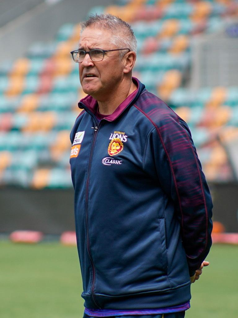 Chris Fagan watches his players at the Lions pre-season camp in Tasmania.