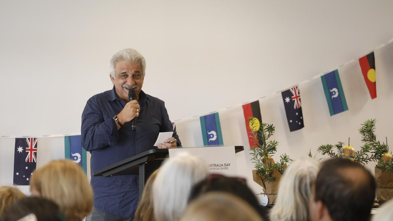 Byron's Australia Day Ambassador for 2020 Andy Paschalidis speaks at the council's awards ceremony at the Cavanbah Centre on Saturday, January 25.