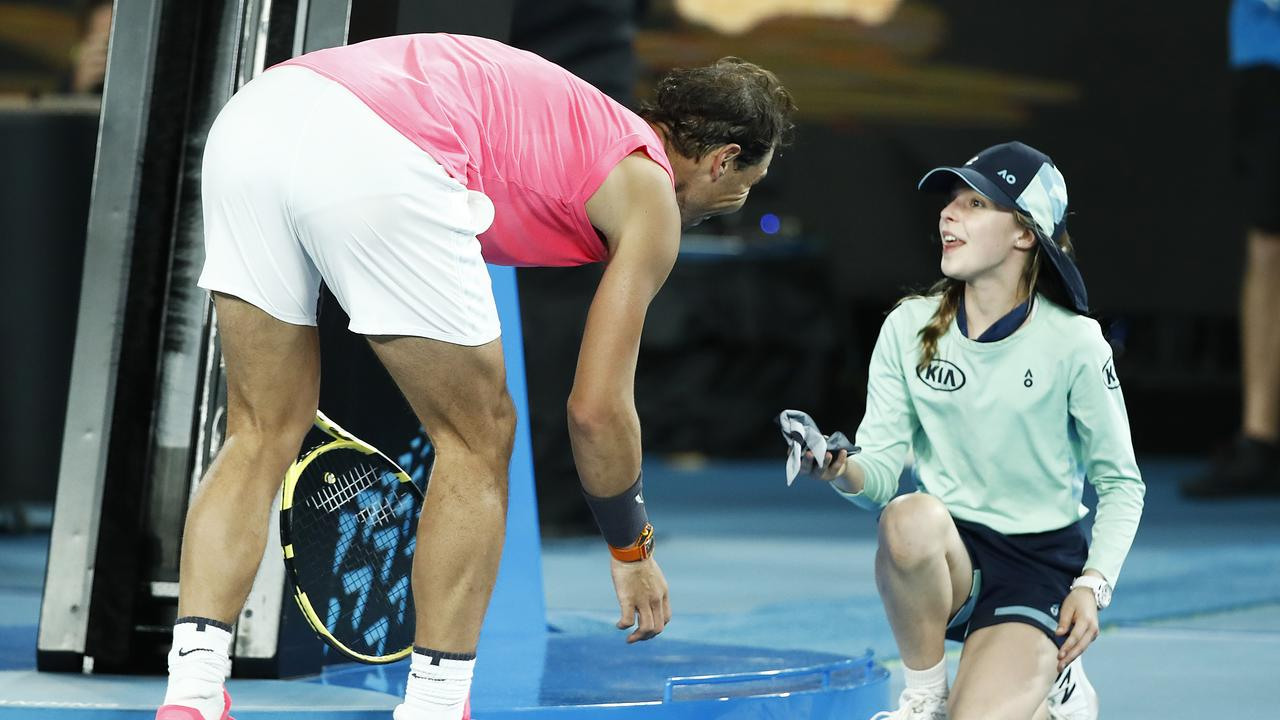 The youngster wasn't expecting Rafael Nadal to bring the match to a standstill.