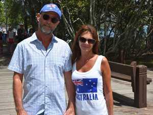 Steve and Lexy Planck wear the Australian colours