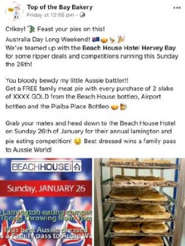 A screen grab of a Facebook post showcasing the Australia Day lamington-eating competition at the Beach House Hotel.