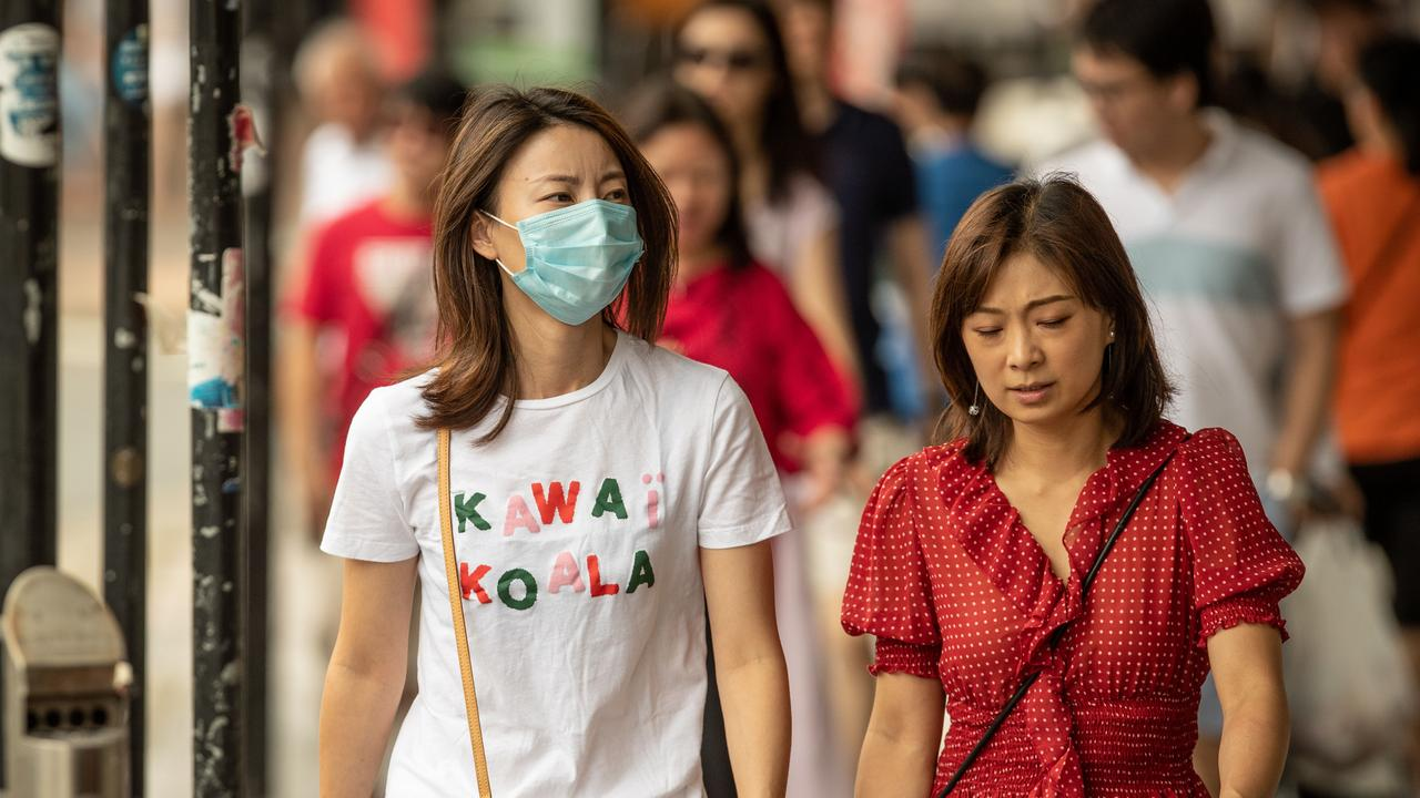 Pictures show people from the Sydney suburb Eastwood wearing face-masks. More people have taken to wearing masks following the outbreak of the Coronavirus in China. Picture: Julian Andrews.