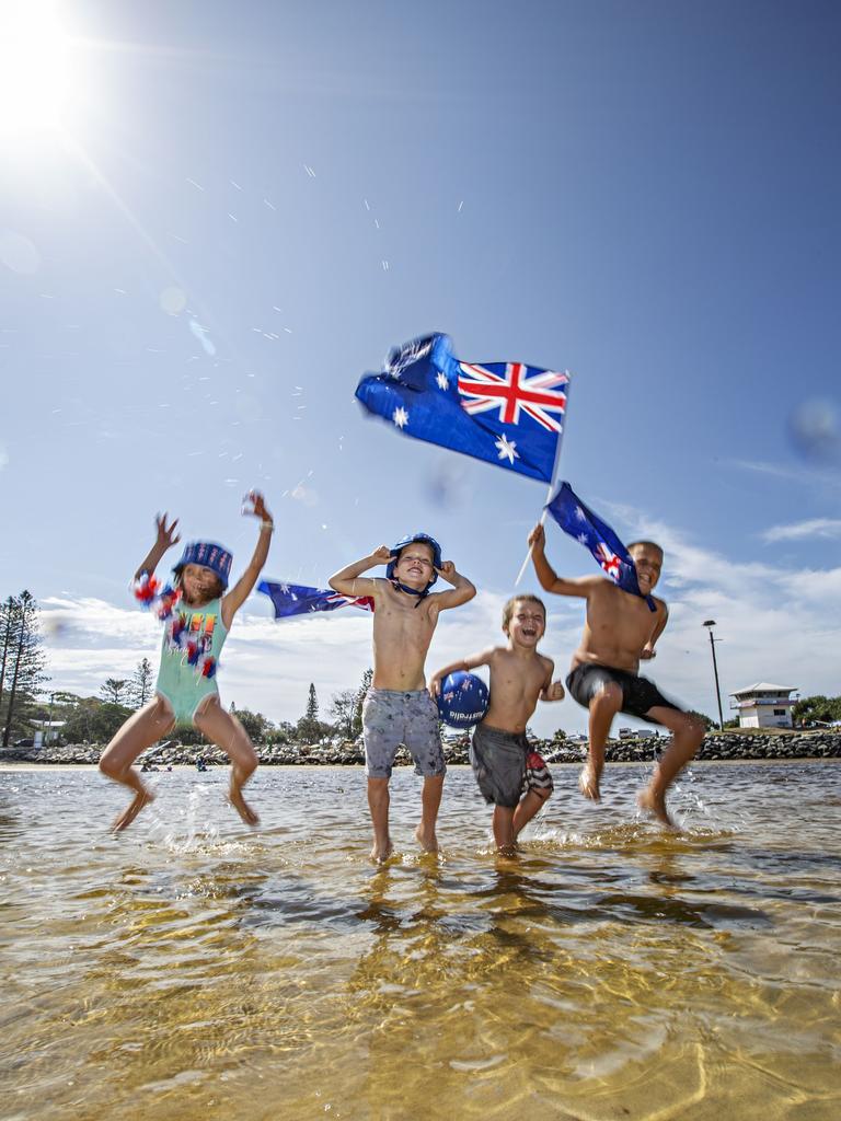 Celebrating Australia Day at Kingscliff Creek – Roxy Bonser, Tanner Craig, Kolbe Craig and Rylan Bonser