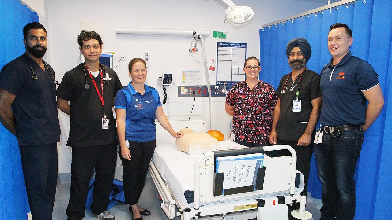 Some of the team at Rockhampton Hospital Emergency Department (from left) Dr Sajan Sawhney, Dr Tim Neve, Nurse Educator Alice Brandt, Registered Nurse Christina Sykes, Dr Raj Sandha and Exercise Physiologist James Bevitt.