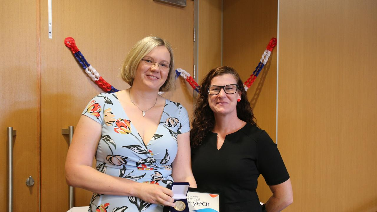 Christin Short and Mary Gallagher on behalf of Bowen Tourism and Business for the Bowen Community Event of the Year, 2019 Lighthouse Walk, at the 2020 Whitsunday Regional Council Australia Day award ceremony.