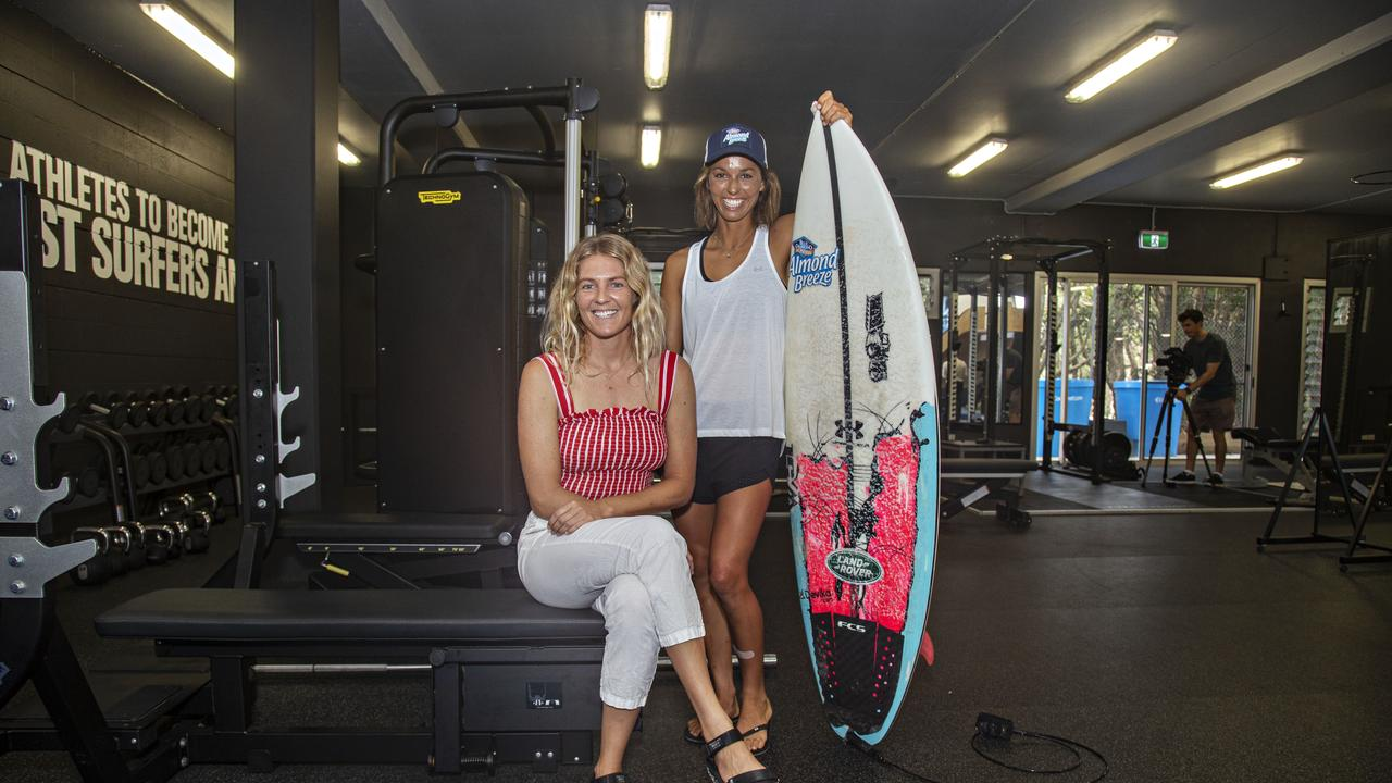 Kingscliff's Stephanie Gilmore and fellow Team Australia squad member Sally Fitzgibbons at the Surfing Australia High Performance Centre at Casuarina. Photo: MELANIE BELANIC
