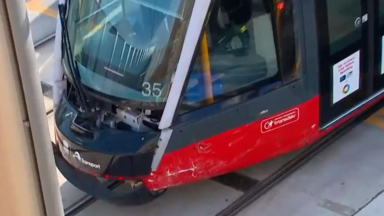 The tram involved in the crash. Picture: 7 NEWS