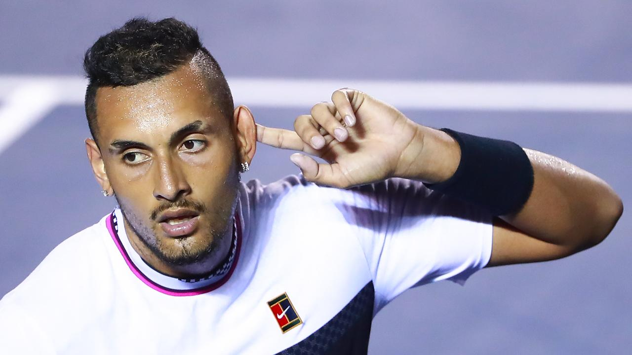 Nick Kyrgios encourages the crowd after beating Rafael Nadal at Acapulco last year. Picture: Hector Vivas/Getty