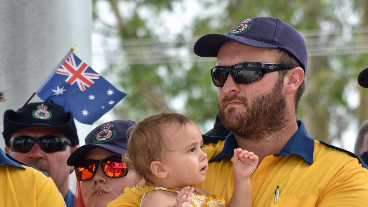 Joel Beaumont holding his one year old daughter Maliah at the Richmond Valley Australia Day ceremony at Casino Drill Hall.