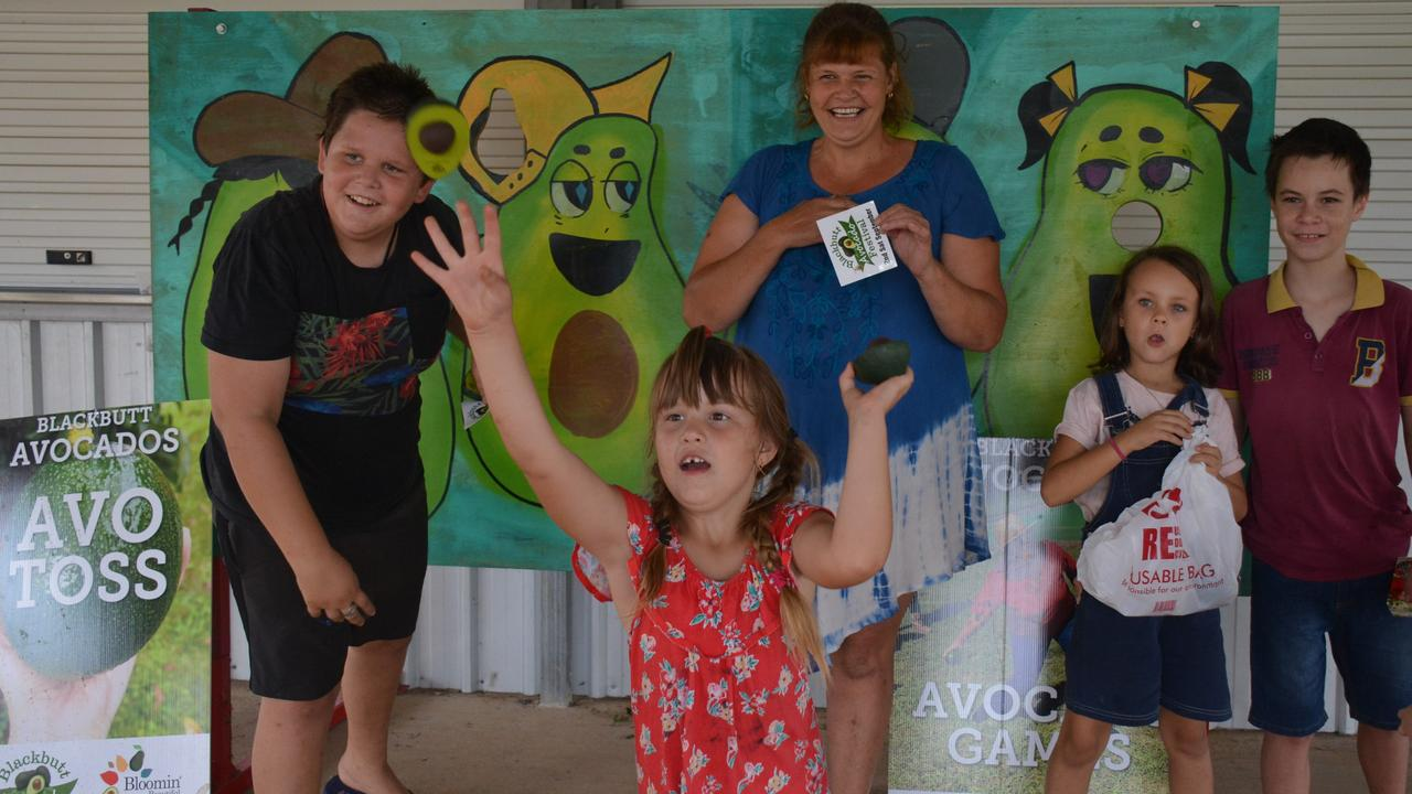 AVO GO: James, Jasmine and Erica Smith have a go at the Avo Tos with Mieka Smith and Alex Maycock at the Blackbutt Australia Day celebrations 2020. (Photo: Jessica McGrath).