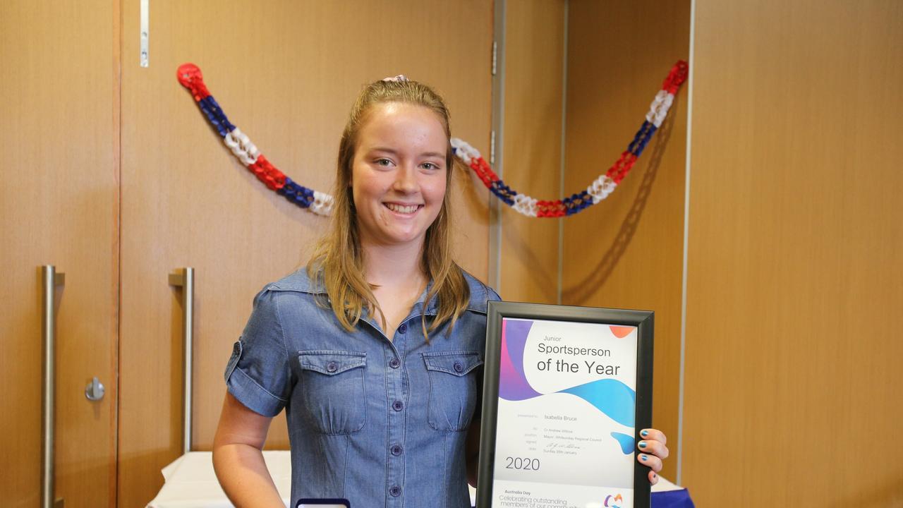 Bowen Junior Sports Award recipient Isabella Bruce at the 2020 Whitsunday Regional Council Australia Day award ceremony.
