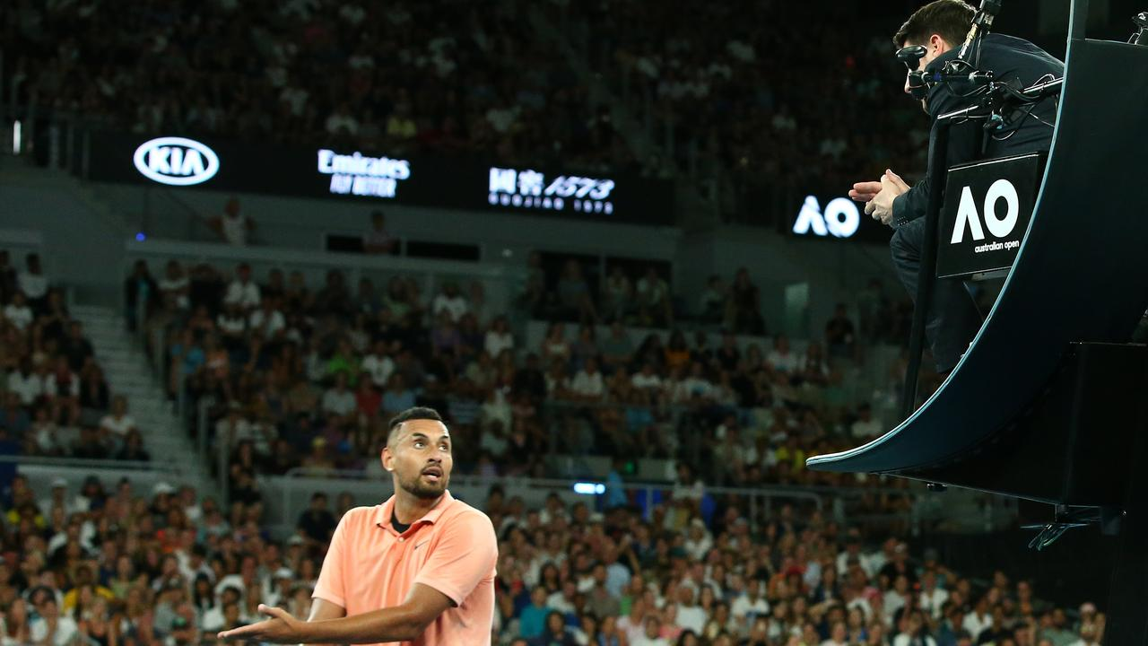 Nick Kyrgios remonstrates with chair umpire Renaud Lichtenstein. Picture: Getty Images