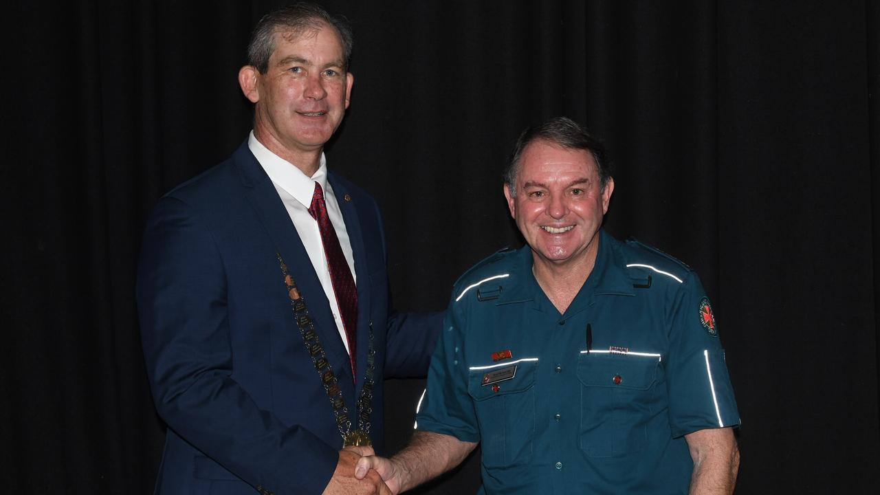 Gympie Regional Council Mayor Mick Curran announced the winners of the 2020 Australia Day Awards in front of a packed crowd at the Civic Centre.- Wayne Sachs (Ambulance Service Medal recipient)