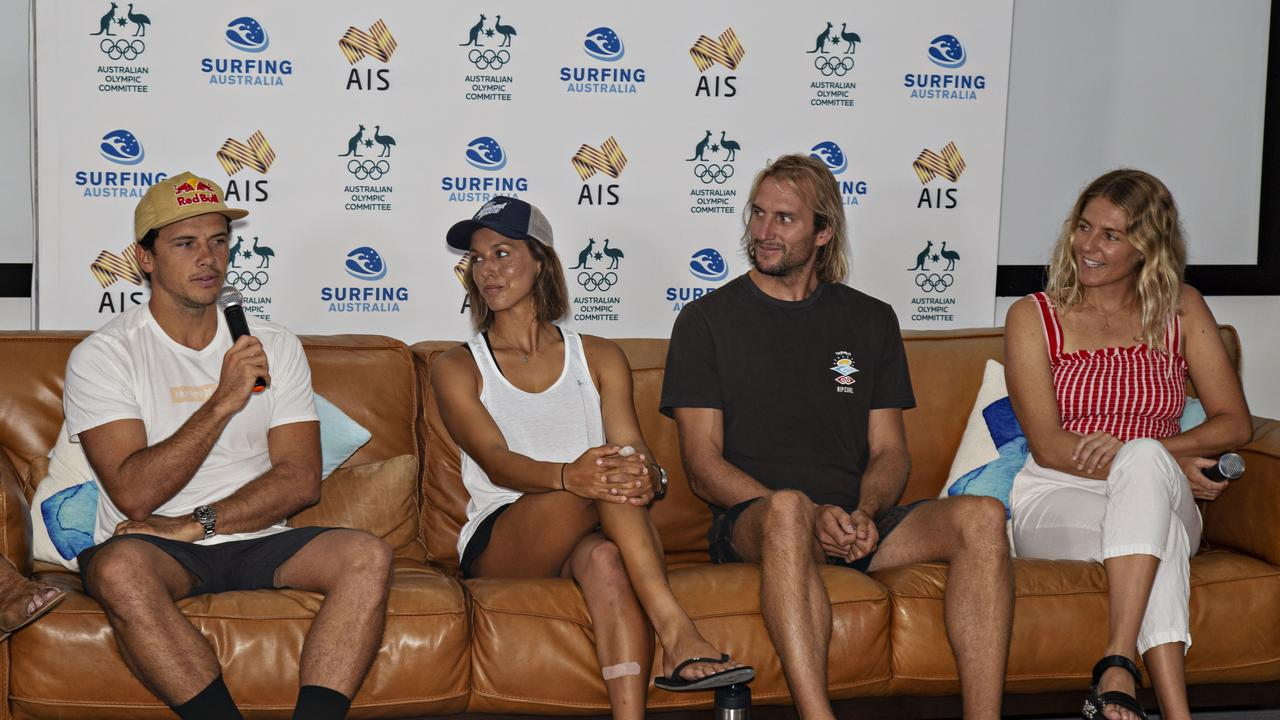 Talking about the Olympic training camp held at the Surfing Australia's High Performance Centre at Casuarina this week are mebers of Australia's provisional squad for the Tokyo Games which will feature surfing for the first time are Julian Wilson, Sally Fizgibbons, Owen Wright and Stephanie Gilmore. Photo: MELANIE BELANIC
