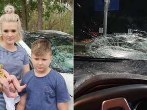 'Like a gunshot': Mum feared for life as rock hurled at car